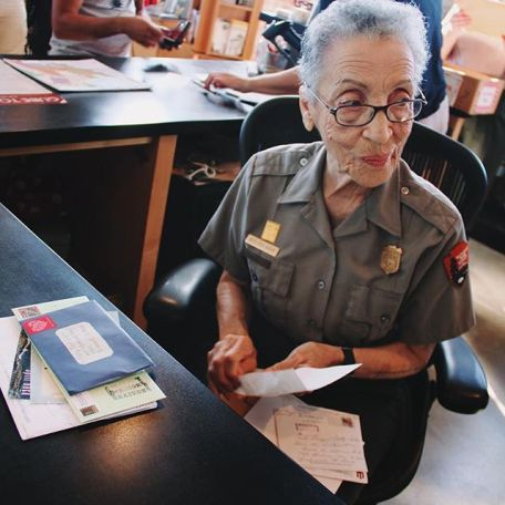 Betty opening fan mail